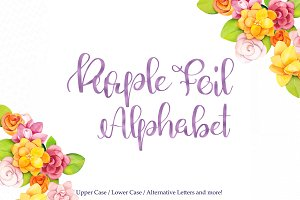 Purple foil alphabet clipart