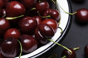 cherry in plate close-up
