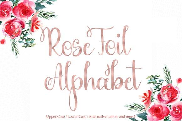 Rose Gold Foil Alphabet Clipart
