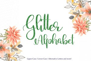 Green glitter alphabet clipart