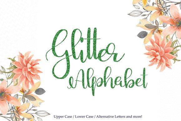 Green Glitter Alphabet Clipart