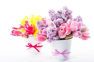 Bouquets from tulips and lilac