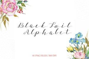 Black foil alphabet clipart