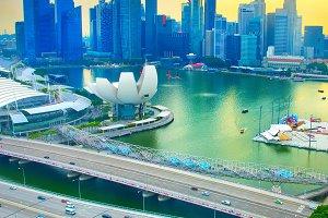 View of Singapore Downtownat sunset