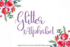 Purple glitter alphabet clipart