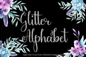 Silver glitter alphabet clipart