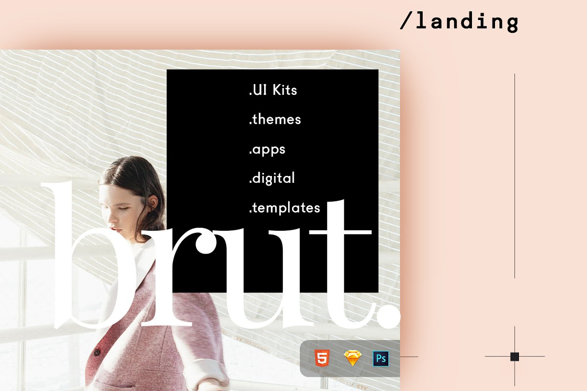 Brut Landing Page ~ HTML/CSS Themes ~ Creative Market
