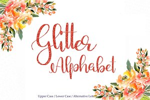 Red glitter alphabet clipart