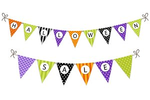 Cute halloween bunting flags with letters in traditional colors
