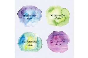 Watercolor stains, splashes set