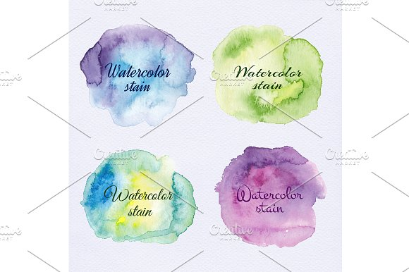 Watercolor Stains Splashes Set