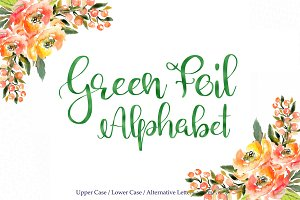 Green foil alphabet clipart