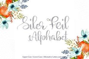 Silver foil alphabet clipart