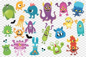 20 Cute Monster's Bundle, Vector Ai