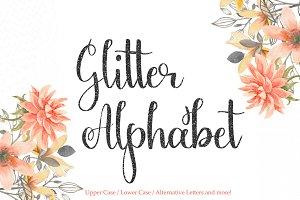 Black glitter alphabet clipart