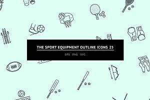The Sport Equipment Outline Icons 25