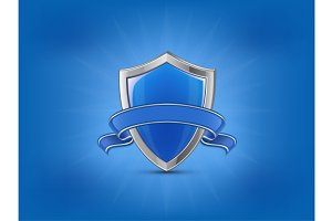 Protection concept. Blue glossy shield with ribbon