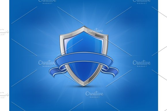 Protection Concept Blue Glossy Shield With Ribbon