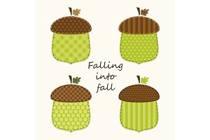 Retro fabric applique of cute acorns in shabby chic style