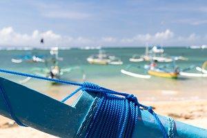 Fishing boats in the Indian ocean, tropical island Bali, Indonesia. Sanur beach.