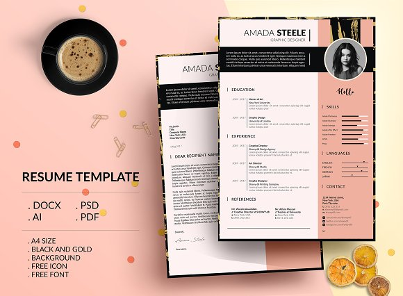 Black And Gold CV Resume Template N