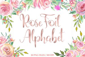 Rose gold foil alphabet clip art
