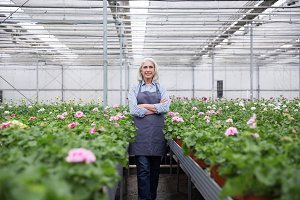 Mature woman standing in greenhouse near plants