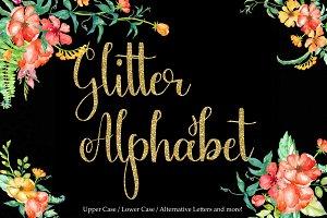 Gold glitter alphabet clipart
