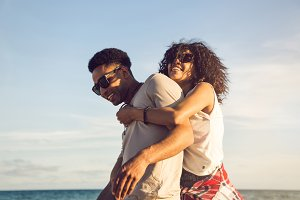 Happy afro american couple having fun together