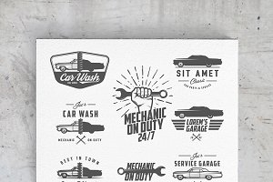 Car service logos, emblems and icons
