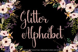 Rose gold glitter alphabet clipart