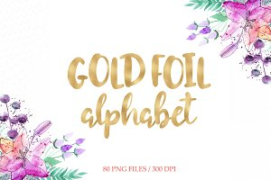 Gold foil alphabet clipart