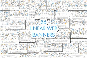 Big set of linear web banners