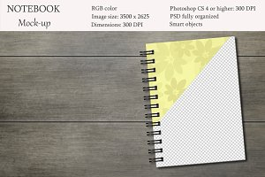 Notebook mockup. Sketchbook mockup.