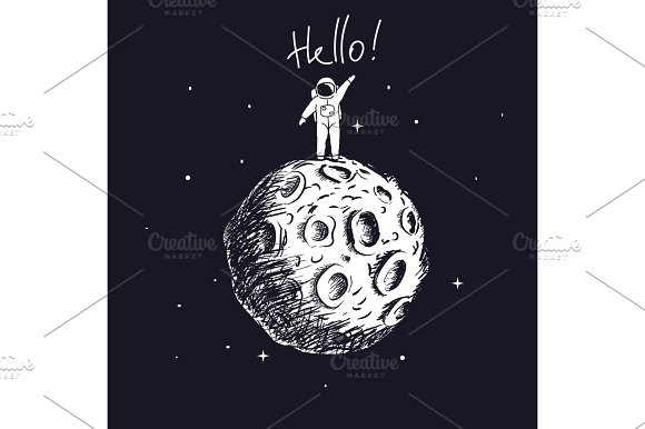 Astronaut On Moon And Welcomes Us