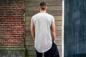 Young man in a blank t-shirt. Back