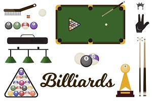 Billiard snooker equipmen vector