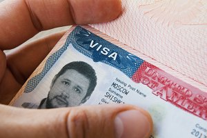 ID - Passport with USA Visa - travel background