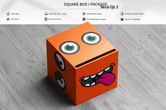 Square Box Package Mock-Up 3