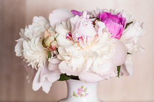 Peonies on the table