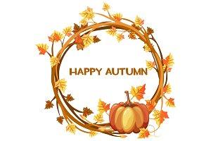 Happy autumn, illustration orange wreath with pumpkin