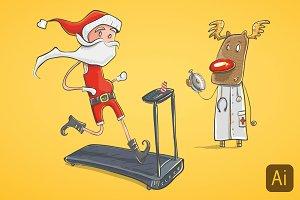 Illustration of Santa Claus running