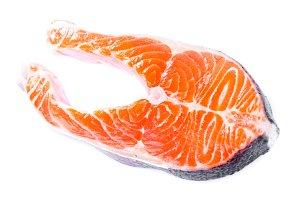 Salmon steak isolated