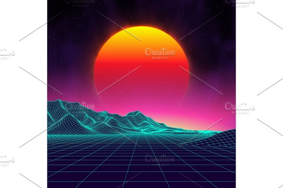 Retro background futuristic landscape 1980s style digital for Surface design landscape