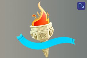Rendered 3d Olympic flame of paper