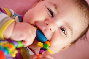 Baby are gnawing a toy