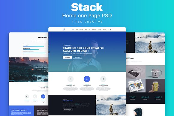 Stack Home Page One PSD