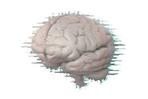 brain with glitch effect