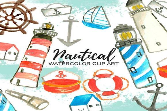 Watercolor Nautical Clip Art