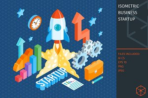 Business startup isometric template